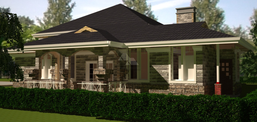 Arch porch bungalow house plan david chola architect for Simple modern house plans in kenya