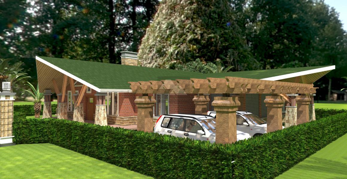View 3 Front - View Modern 3 Bedroom Bungalow House Plans In Kenya Pictures