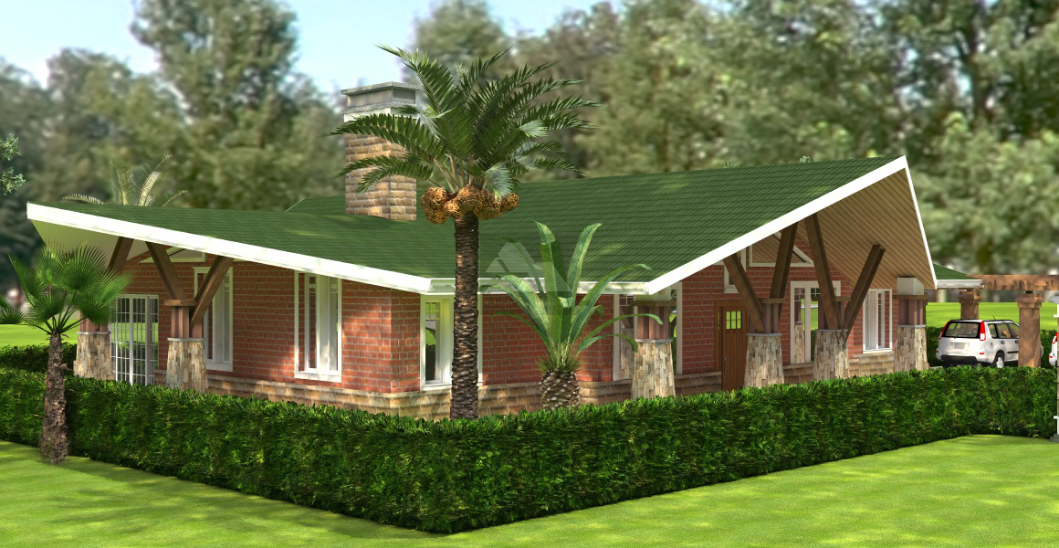 Kare 4 bedroom bungalow house plan david chola architect for 4 bedroom bungalow house designs