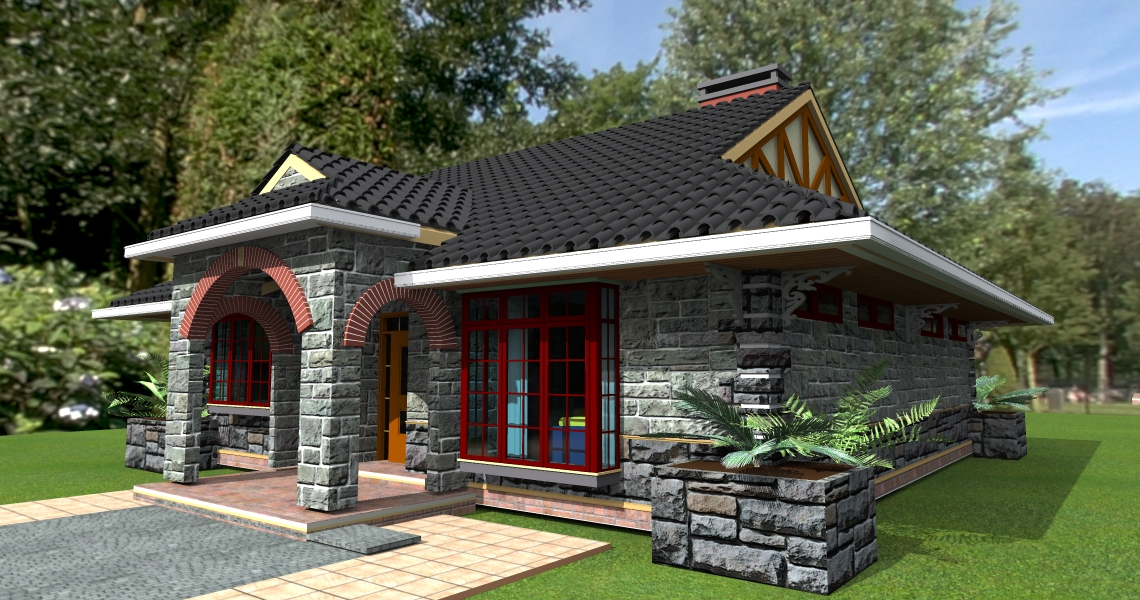 Deluxe 3 bedroom bungalow plan david chola architect for Modern 3 bedroom house plans and designs