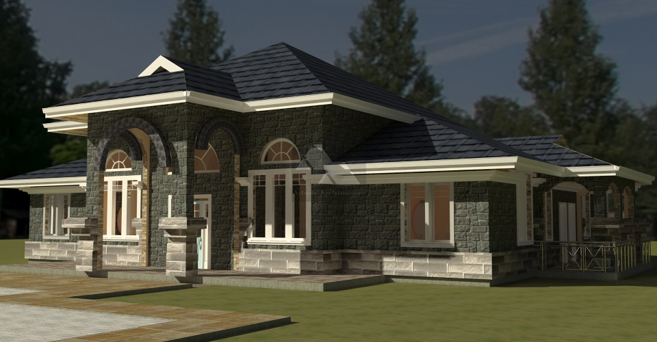Arch porch bungalow house plan david chola architect for Bedroom designs in kenya