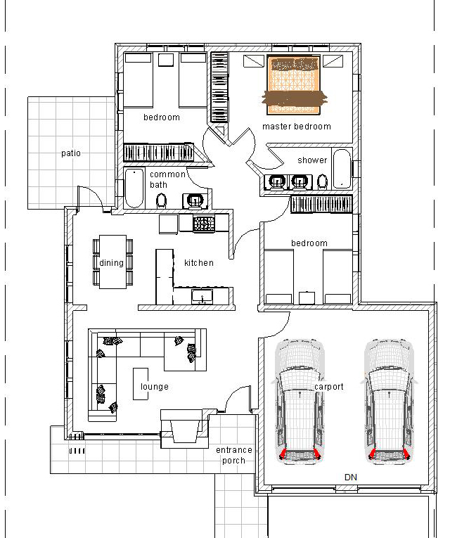 Elegant Three Bedroom Bungalow House Plan