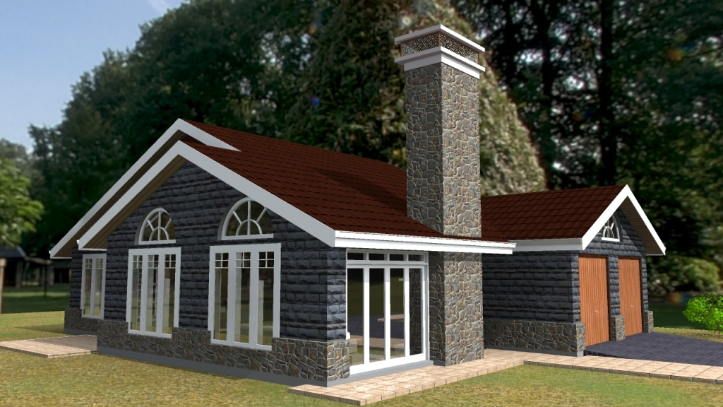 Elegant three bedroom bungalow house plan david chola for Kenya house plans