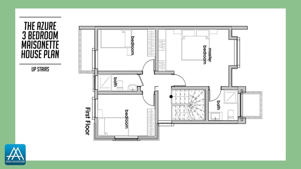 3 Bedroom Maisonette House Plan