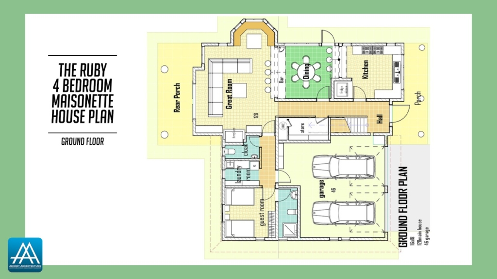 4 Bedroom Maisonette House Plan