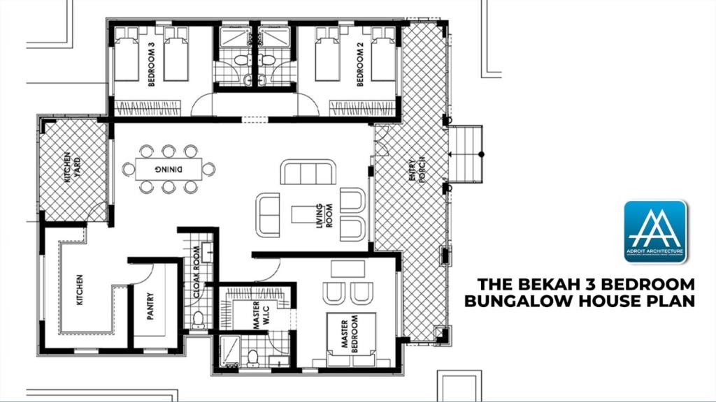 3 Bedroom Bungalow House Plan